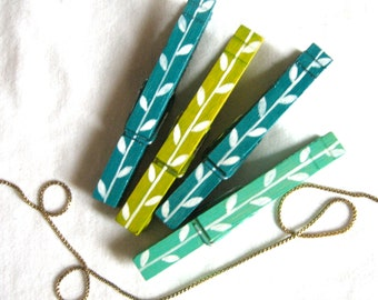 PAINTED CLOTHESPINS teal aqua olive magnetic