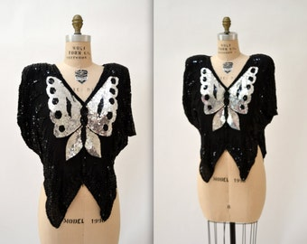 Vintage Sequin Shirt Size Medium In Black and Silver with Butterfly// Vintage Metallic Sequin Shirt Silk Top In Black and Silver  Medium