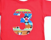 Ready to Ship Boys 3rd Birthday Shirt Pirate Tshirt Party Short Sleeve Size 4 4T Red Blue Number 3 Shirt Third Birthday Tee