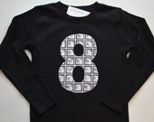 Boys 8th Birthday Shirt for a Science Party, Periodic Table of Elements Applique Number 8 Shirt, Nerd Geek Party, Scientist Ready to Ship