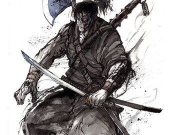 8x10 PRINT Terminator t-800 Samurai with swords, war axe and Kanabo