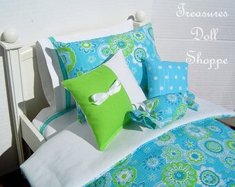 Doll Bedding 5 Pc Set for 18 Inch Sized Dolls - Blue and Lime Floral