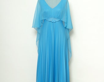Vintage Dress / 60s Dress / Blue 70s / Summer Sleeveless Dress / Party maxi dress / Hippie dress Boho maxi dress