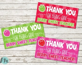 Teacher Bag Toppers, Teacher Appreciation Week, Berry Sweet Teacher, Thank You, Bag Tags, Cookie Bag Toppers, Printables, Digital Download,