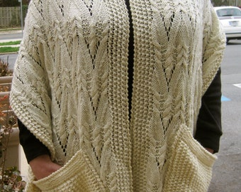 KNITTING PATTERN FOR SHAWL WITH POCKETS   KNITTING PATTERN