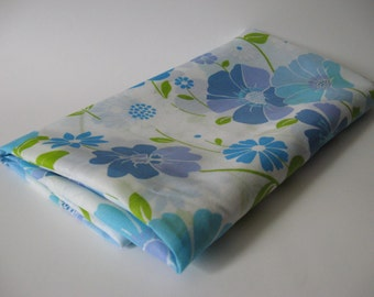 Semi sheer curtain fabric with 60s 70s vintage mod floral blues green on white 2 yards available
