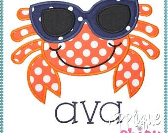 Sunglasses Crab Applique Design