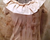 Mindi Ruffle Top Short Sleeved or Long Sleeved Magnolia Mori Lagenlook Pearl Steampunk New Victorian Goth Flash and Trash