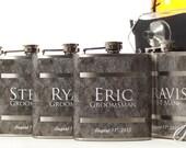 Flasks for Groomsmen, Set of 5 Gray Flask Gift Sets, Best Man, Usher, Wedding