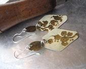 Elegant Light Weight Vintage Tin Earrings-Dangle Earrings-Creamy White and Gold Asian Design-Handmade Sterling Ear wires
