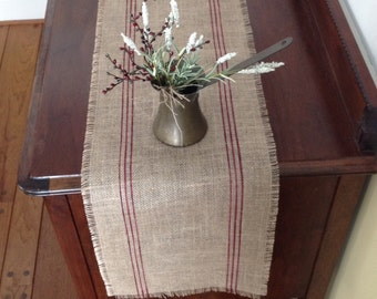 Burlap Grainsack Table Runner 12-14 x 48 or 60 Merlot French Striped Vintage Burlap Table Runner by sweetjanesplan