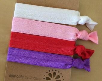 Valentine's Day - elastic hair tie set of 4 - ponytail holder/bracelet - valentines solids - white, pink, red, purple