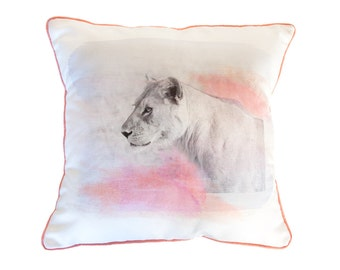 SALE Lioness Pillow, Pink Coral and Soft Grey Blue, Coral Trim - 16x16 inches