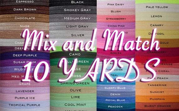5/8 Fold Over Elastic, 10 Yard Multi Pack, You Choose Colors