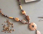 Coconut shell flower necklace