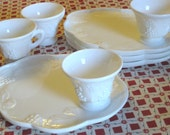 Indiana Glass Colony Harvest Grape Milk Glass 8 pc Serving Hostess Snack Set