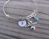 Volleyball Bracelet- Personalized Bangle Bracelet- Adjustable Bangle Bracelet with Initial, I *heart* Volleyball charm, and accent bead
