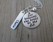 """RESERVED for Steph- custom necklace- """"Sarah Richie Conner Cadence"""" on the circle piece """"(heart) Nana"""" on rectangle with Sept, Aug, Aug, Jan"""
