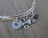 Tractor Bangle Bracelet- Adjustable Bangle Bracelet with Hand-Stamped Initial, Tractor Charm, and accent bead of choice- Personalized Gift