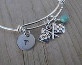 Racing Flags Bangle Bracelet- Adjustable Bangle Bracelet with Hand-Stamped Initial, Racing Flags Charm, and accent bead of choice