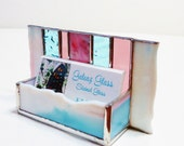 Contemporary Stained Glass Business Card Holder Modern Office Decor Art Glass Rose Mauve Aqua Sky Blue White Desk Accessory Handmade
