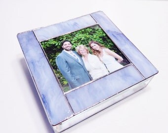 Stained Glass Keepsake Memory Box 8x8x2 Wedding Box Mother of the Bride Groom Picture Thank You Box Bat Mitzvah Custom Made-to-Order