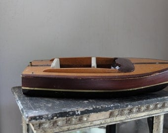 Vintage wooden runabout wood boat toy