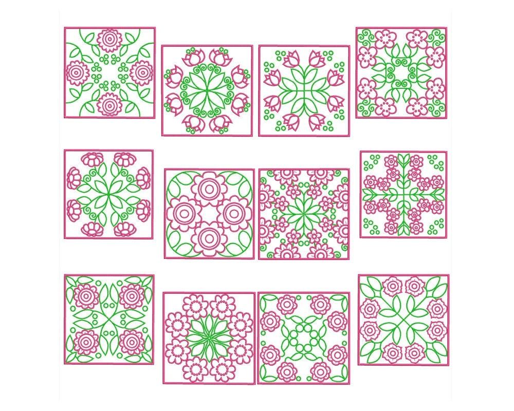 Quilt blocks machine filled embroidery instant digital