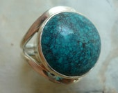 Turquoise Stone Ring, sterling silver stone ring, round gemstone ring, statement ring, December birthstone ring, cocktail ring, blue ring