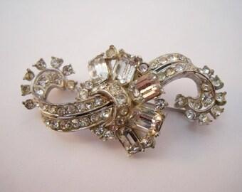 Coro clear rhinestone swirl brooch