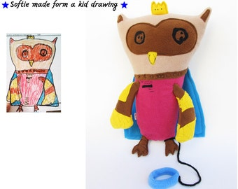 Educational doll form kid's drawing Custom made owl doll from your design Personalized gift - MADE TO ORDER