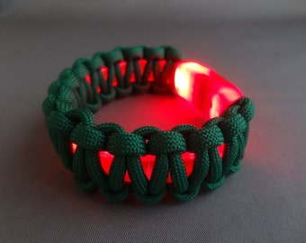 """Light-Up LED Bracelet with Paracord Weave-For 8"""" Wrist or Smaller"""