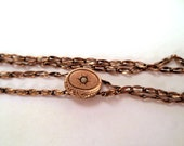 Antique Victorian Gold Filled Ladies Slider Watch Chain Necklace Gold Filled Slider with Seed Pearl