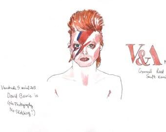 David Bowie Watercolor David Bowie portrait print /rock singer/SINGER PORTRAIT
