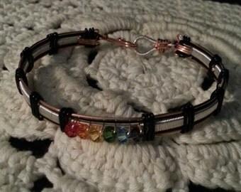Gay Lesbian Crystal Pride Bangle Bracelet LGBT/GLBT