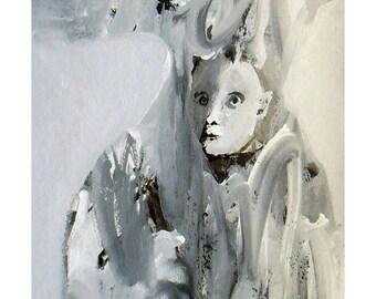 Woman Snow original painting man portrait people illustration winter