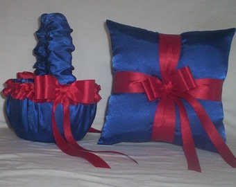 Blue Horizon Satin With Red Ribbon Trim Flower Girl Basket And Ring Bearer Pillow Set 1