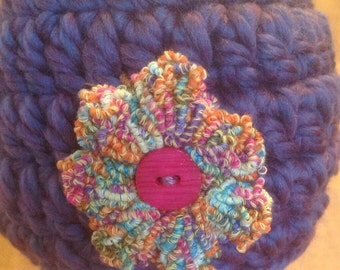 Purple Beanie with Multi-color Flower 3-6 Months