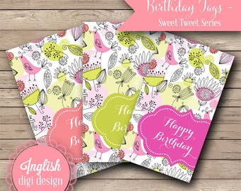 Printable Birthday Tags - Sweet Tweet - INSTANT DOWNLOAD