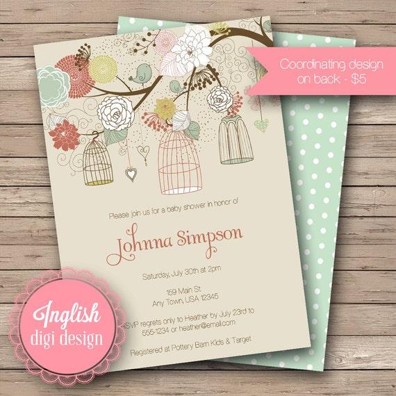 Vintage Birdcages Baby Shower Invitation, Vintage Birdcages Baby Shower Invite, Printable, Floral Baby Shower Invitation - Vintage Birdcages