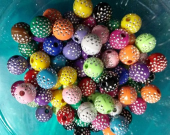 BULK Beads Assorted Colors Bling Beads 10mm Beads Acrylic Beads Silver Enlaced Beads Wholesale Beads 50 pieces