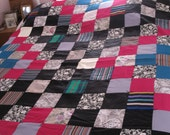 Vintage Satin Quilt, Patchwork Hand Made