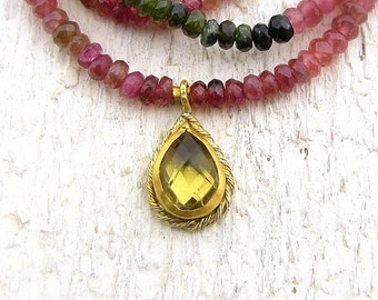 22k Gold Pendant - Olive Quartz & Tourmaline Necklace - Solid Gold Necklace - Tourmaline Olive Quartz Necklace - Gemstones Necklace