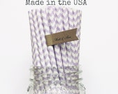Lavender Paper Straws, 50 Straws, Party Supplies, Purple Lilac Chevron Wedding Straws, Rustic Baby Shower Vintage Birthday Party Made in USA