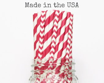 Red Paper Straws 25 Red Stripe Chevron Paper Straws Cake Pop Sticks Vintage Wedding Table Setting Baby Shower Party Supplies Birthday Straws