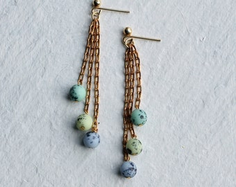 Speckled Egg Earrings ... Trio Vintage Turquoise Blue Glass