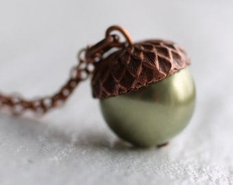 Acorn Necklace ...  Moss Olive Green Swarovski Pearls Copper