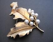 Vintage Crown TRIFARI Faux Pearl Brooch - Curled Leaf Brooch - Wedding Bridal