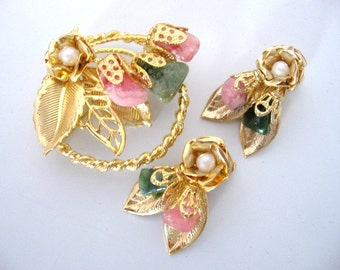 Vintage Natural Stone Floral Brooch and Earrings Set