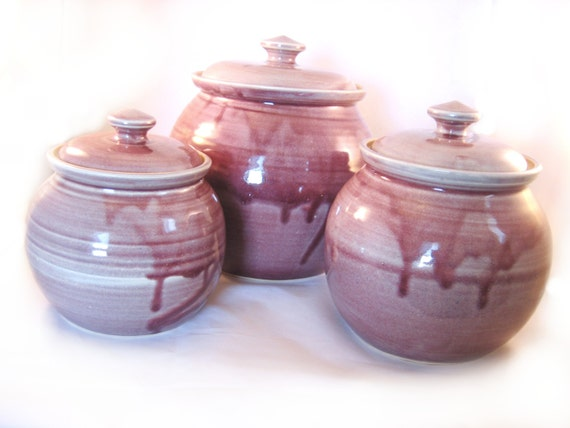 canisters set of 3 stoneware handmade pottery lidded by